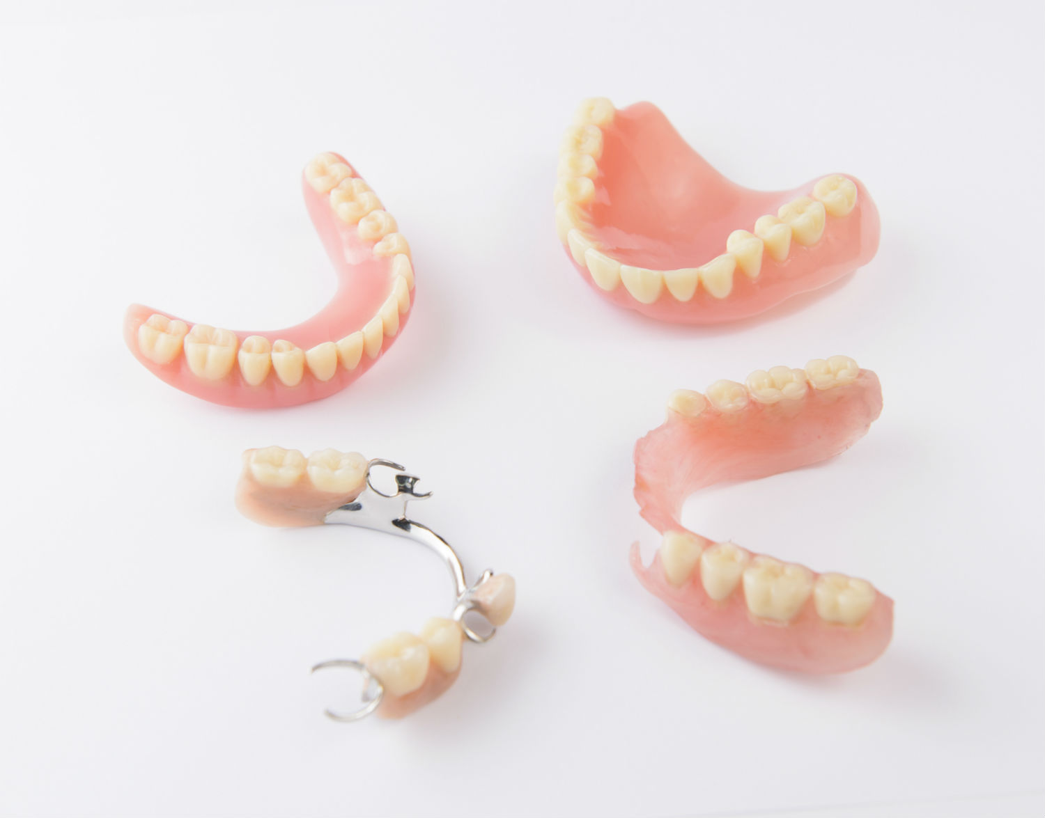 closeup of different types of dentures