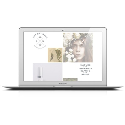 Lift Naturals: sophisticated and elegant website for an organic cosmetics manufacturer.