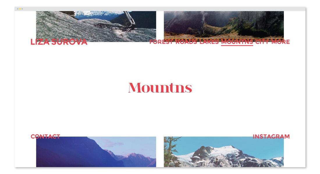 Liza Surova: Mounts Section Web Design