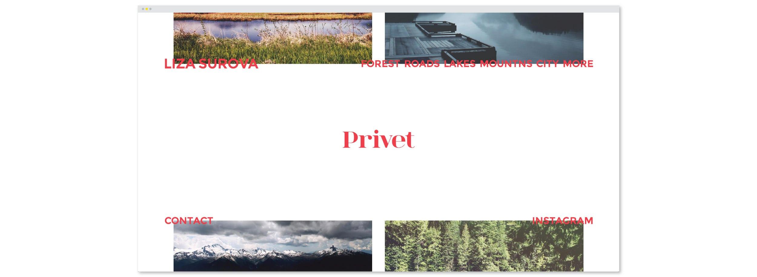Liza Surova's Website: Homepage Design