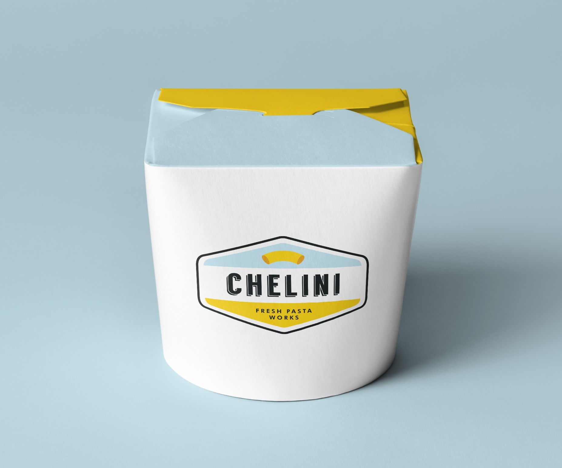 Chelini branded noodle box. © LET'S PANDA