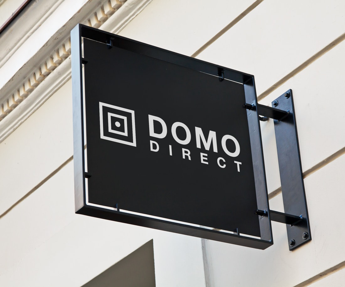 Domo Direct stylish and elegant b&w store signage