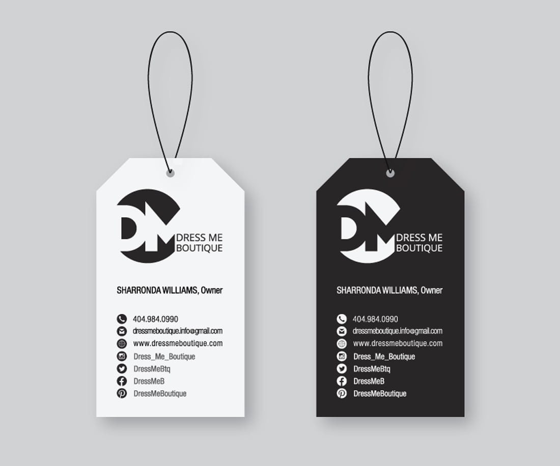 Unique business card design for Dress Me Boutique. © LET'S PANDA