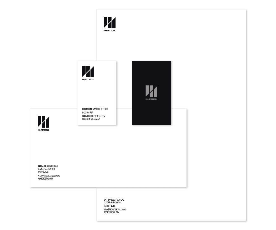 Letterhead, business cards and envelope for Project Detail. © LET'S PANDA