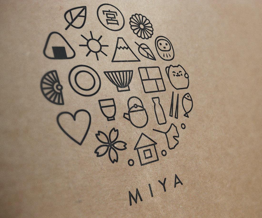 New Miya logo is made up of a set of custom icons. © LET'S PANDA