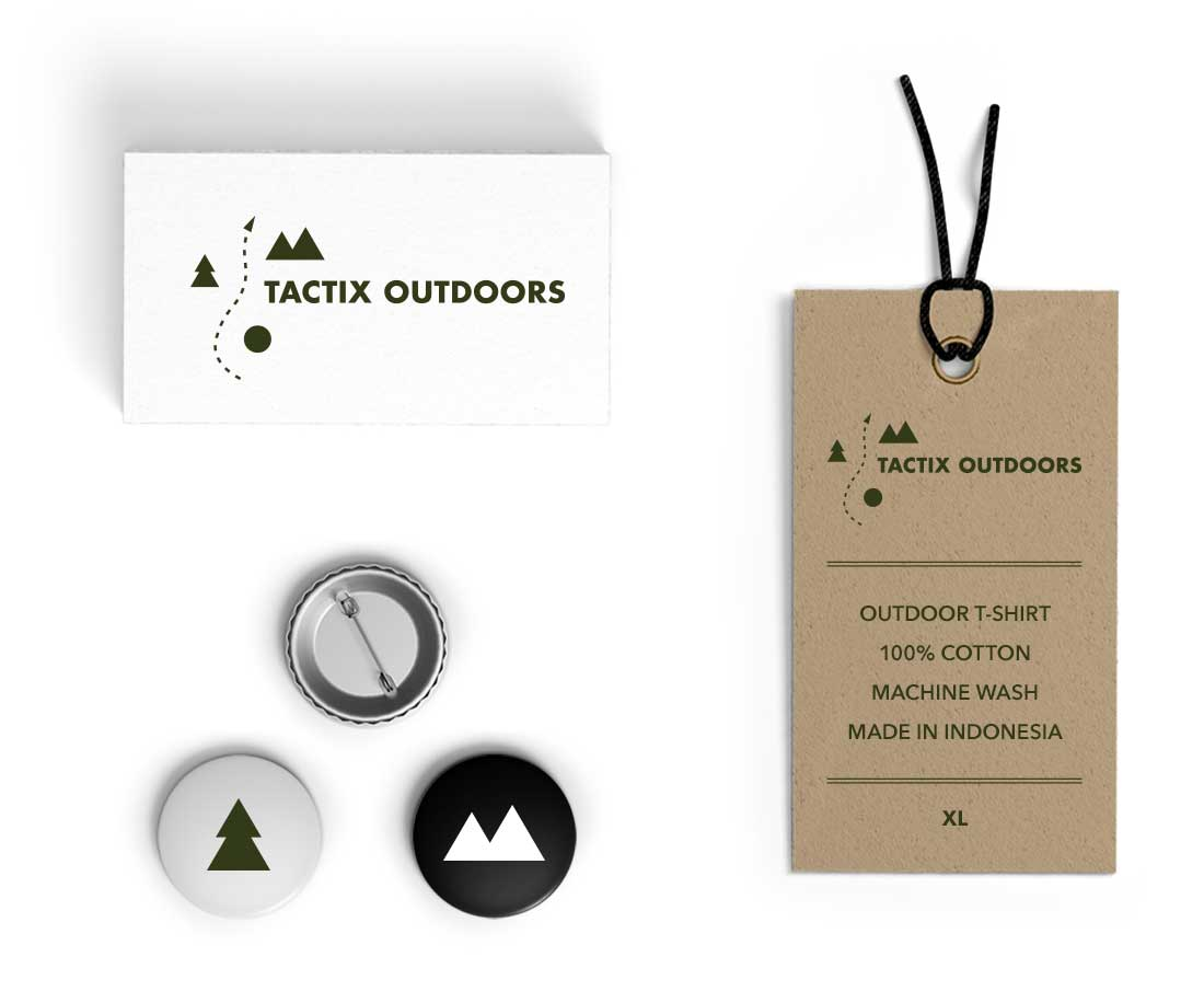 Crafty stationery that supports the overall natural feel: business cards, badges and t-shirt labels. © LET'S PANDA for Tactix Outdoors