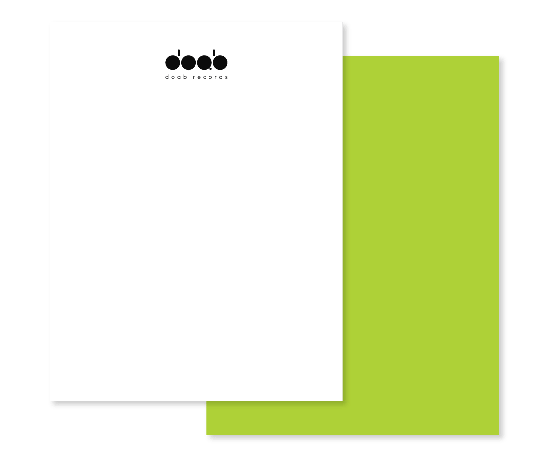 This simple letterhead clearly follows the philosophy of less is more: vibrant green background makes you think of nightlife. © LET'S PANDA