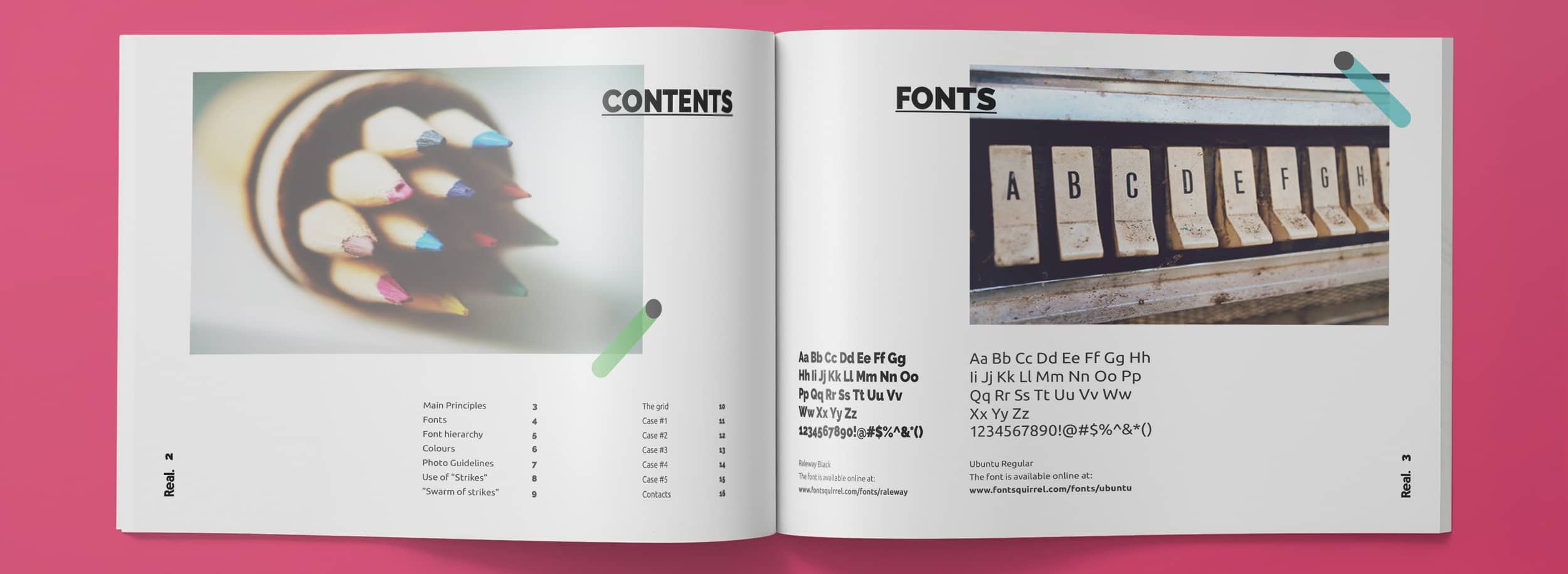 Brand Guide for Real: Contents and Fonts spread