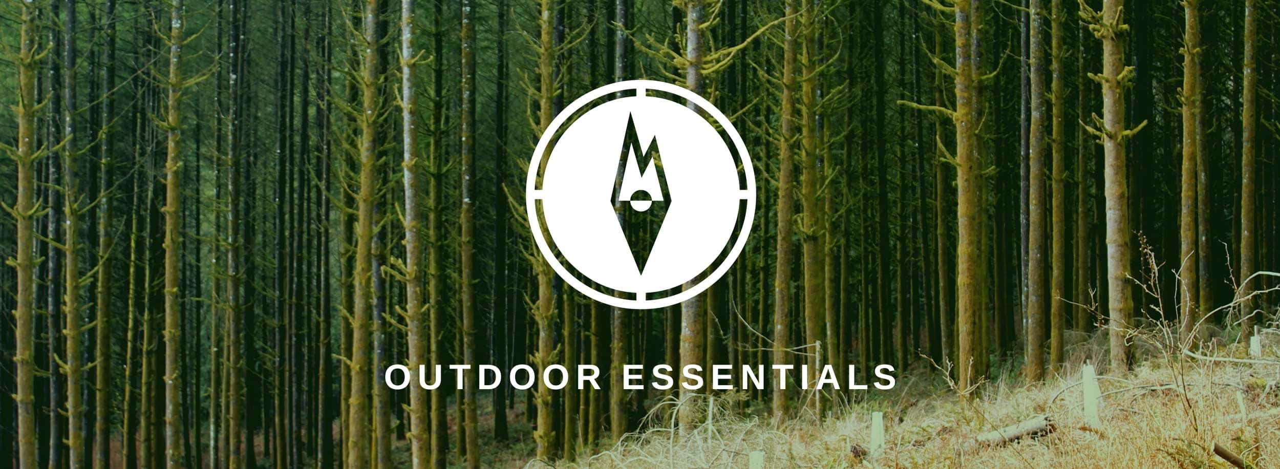 Mountain + Compass visuals form a unique symbol for Outdoor Essentials brand © LET'S PANDA