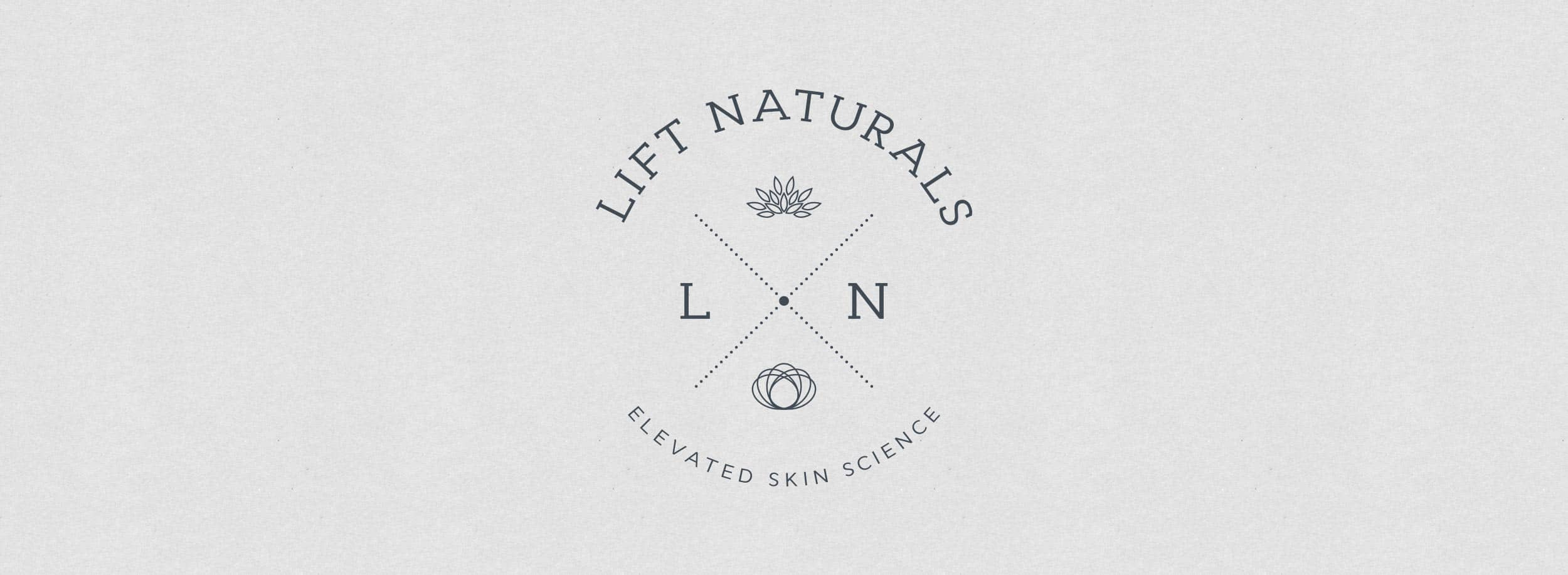 Lift Naturals logo: emblem style, clean and sophisticated. © LET'S PANDA