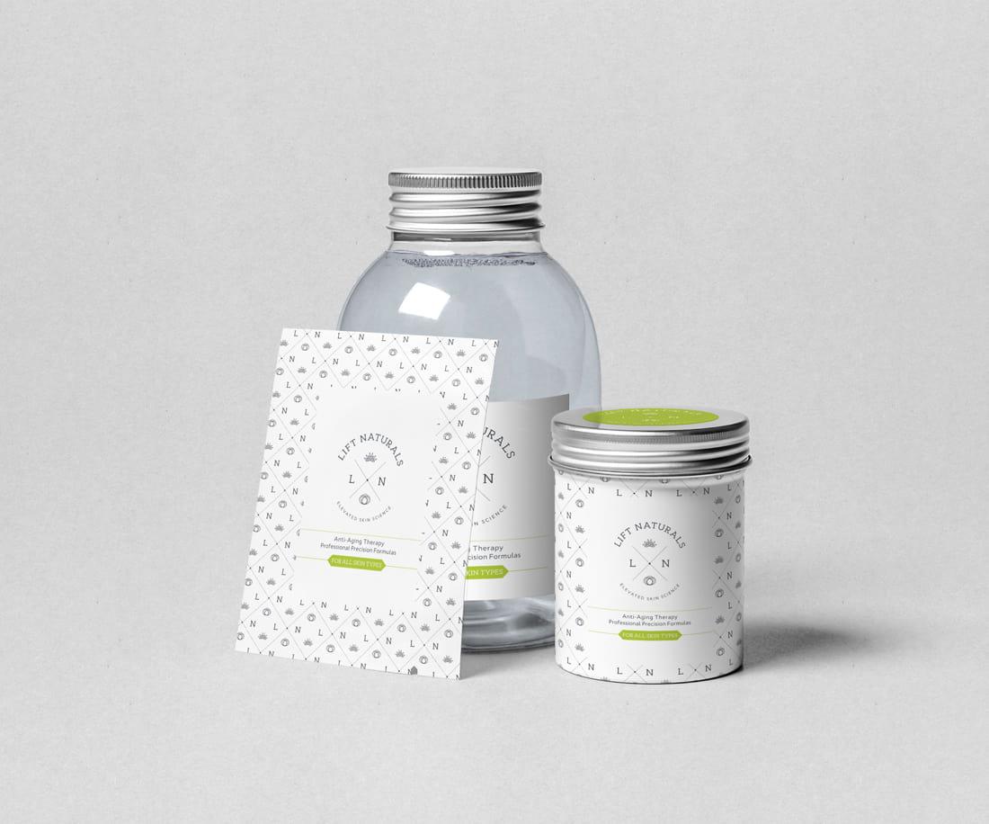 Cosmetics bottle mockup, beauty sample package