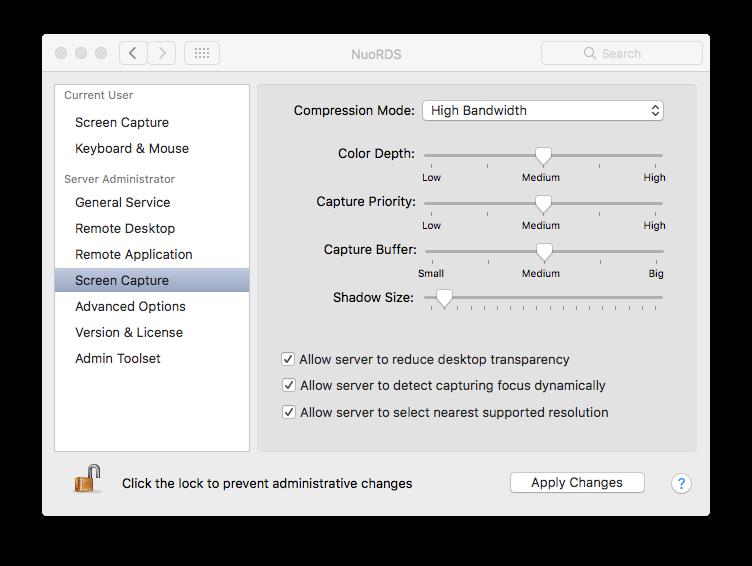 Screen Capture settings