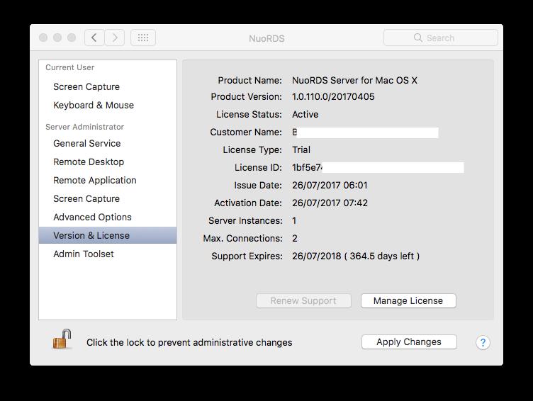 Version & License settings