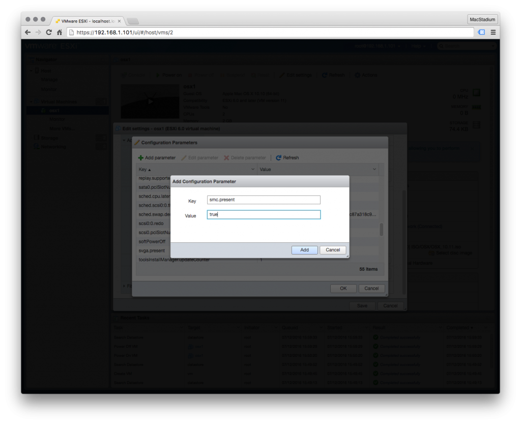 Bug Fix: Deploying OSX VMs to a Single ESXi Host via