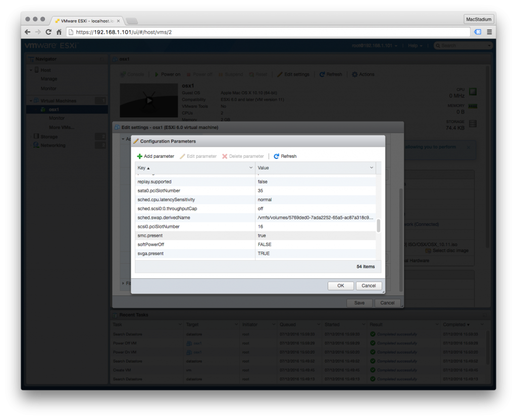 Bug Fix: Deploying OSX VMs to a Single ESXi Host via Embedded Host
