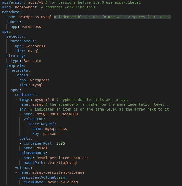 YAML example code