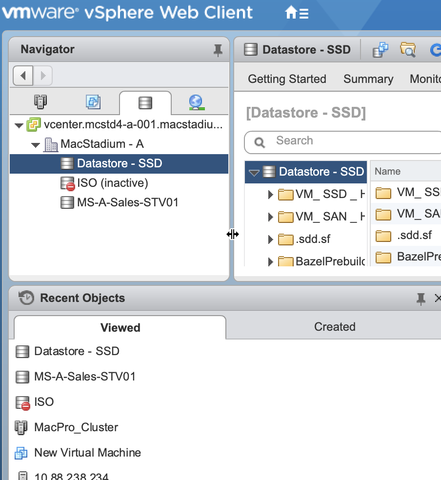 VMware vshphere - datastore screen