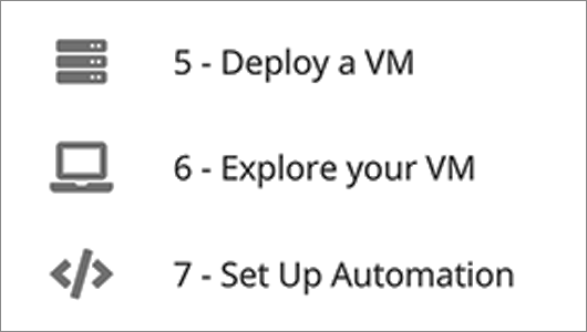 Deploy your VM, Explore your VM and Setup Automation