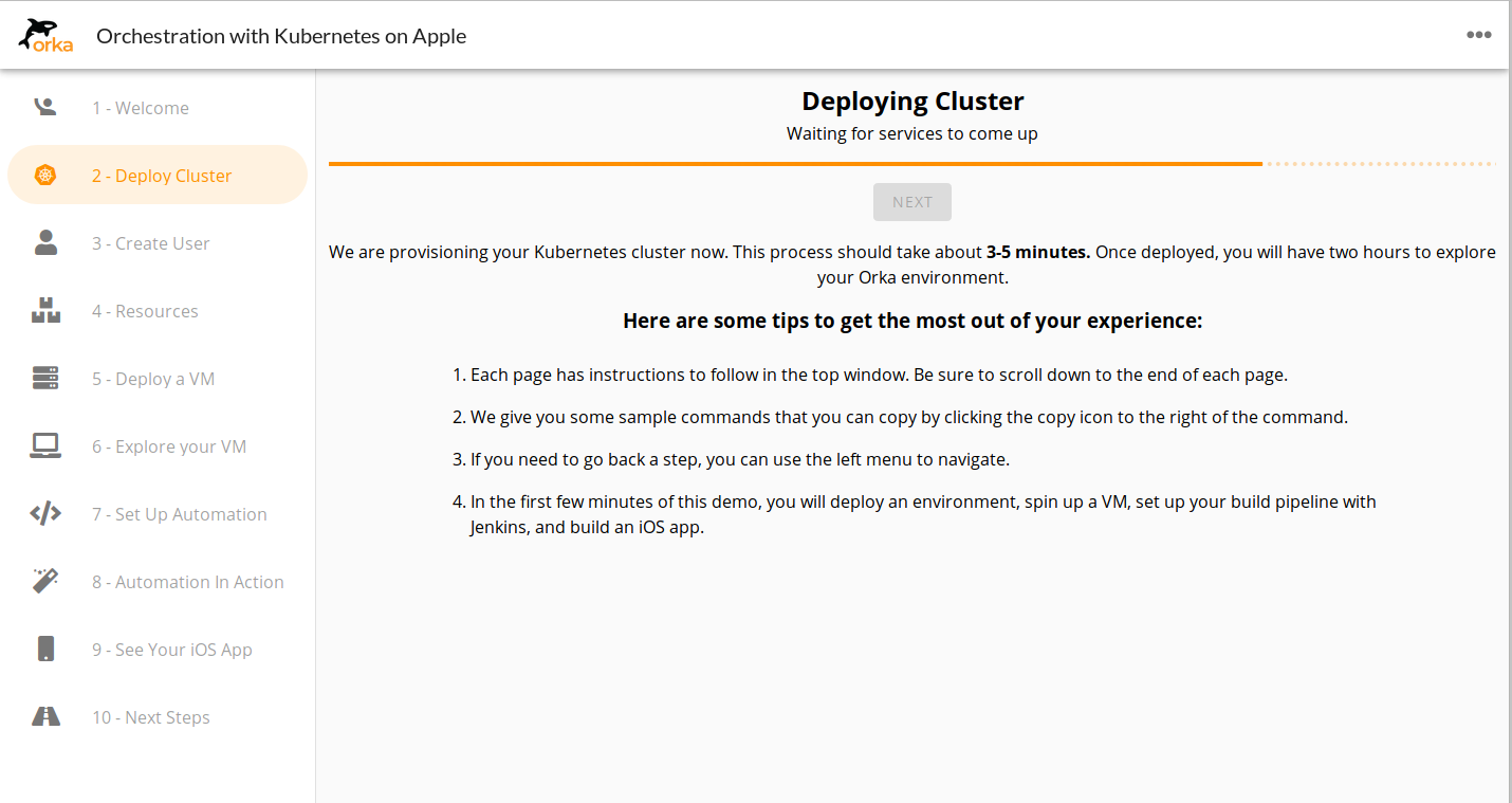 Deploy your Orka cluster