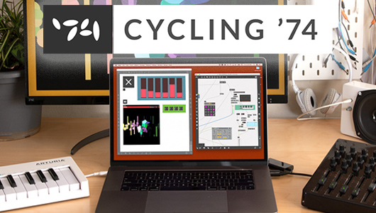 Cycling '74 Mac laptop on desk with audio software on screen