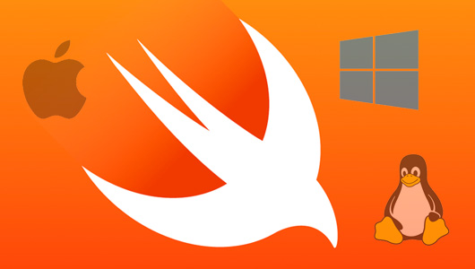 Swift logo with Apple, Windows and Linux logo