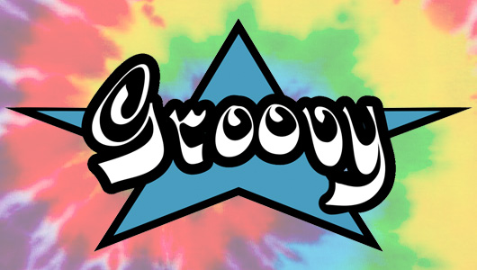 Groovy logo on tie-dye background