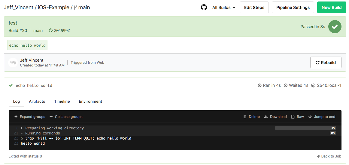 GitHub screen showing successful build process compelted
