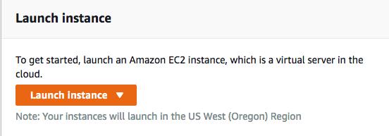 Screenshot of the AWS EC2 Launch instance button