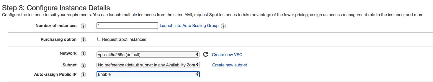 Screenshot of EC2 Instance config details