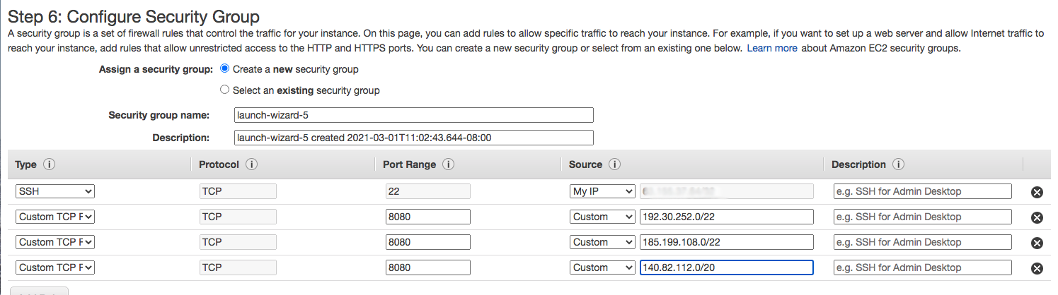 Screenshot of AWS Configure Security Group Page