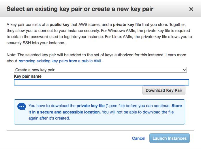 Screenshot of AWS naming key pair page