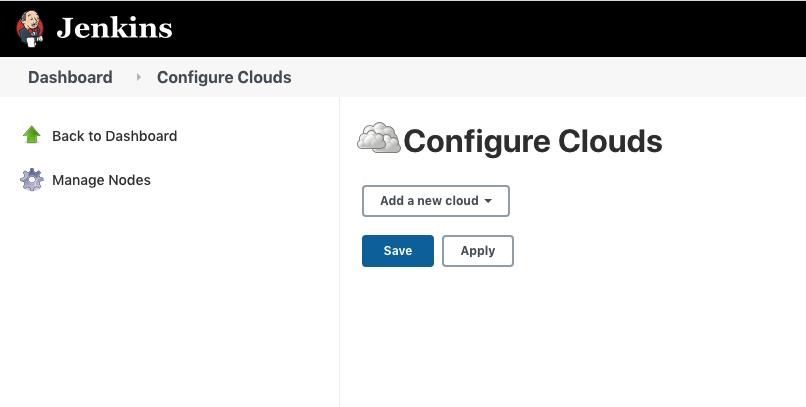 Screenshot of Jenkins Configure Clouds page
