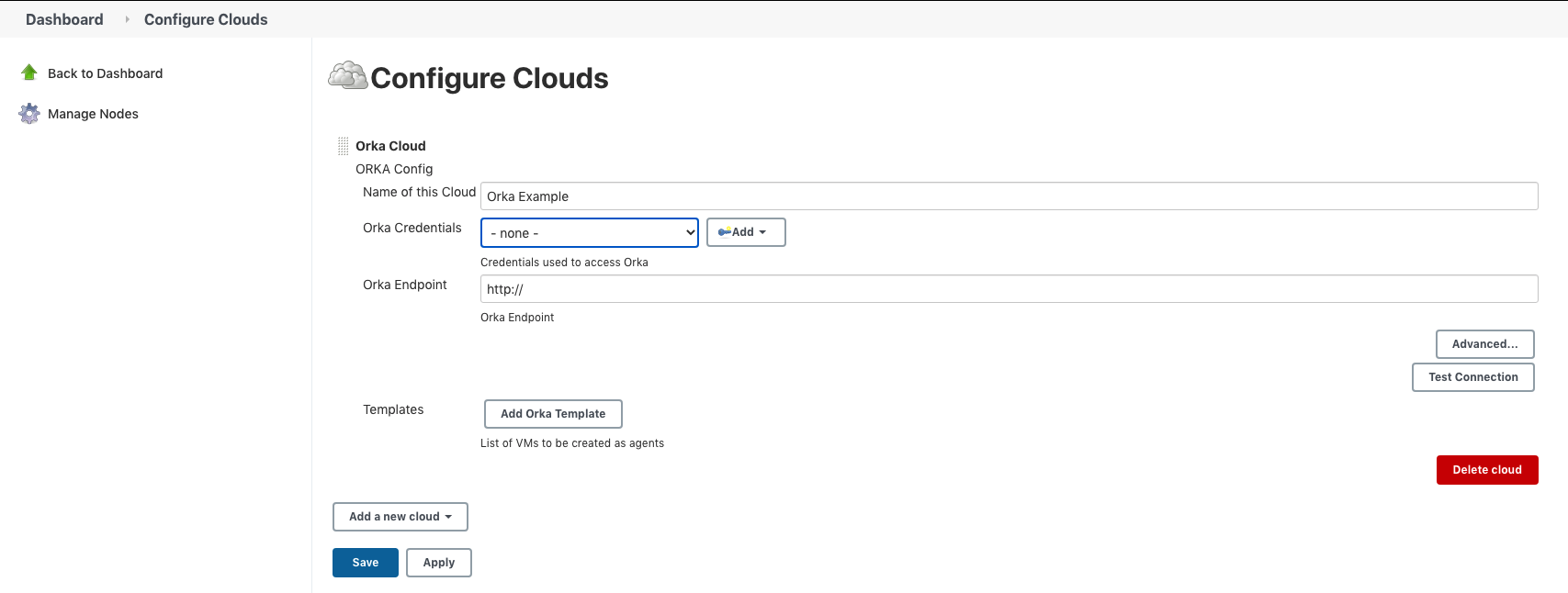 Screenshot of the Jenkins Configure Clouds details page