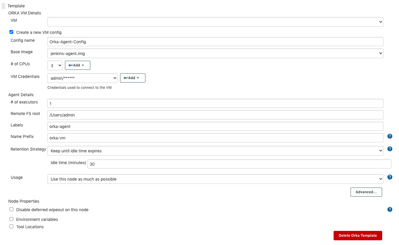 Screenshot of the Template screen in Jenkins for Orka