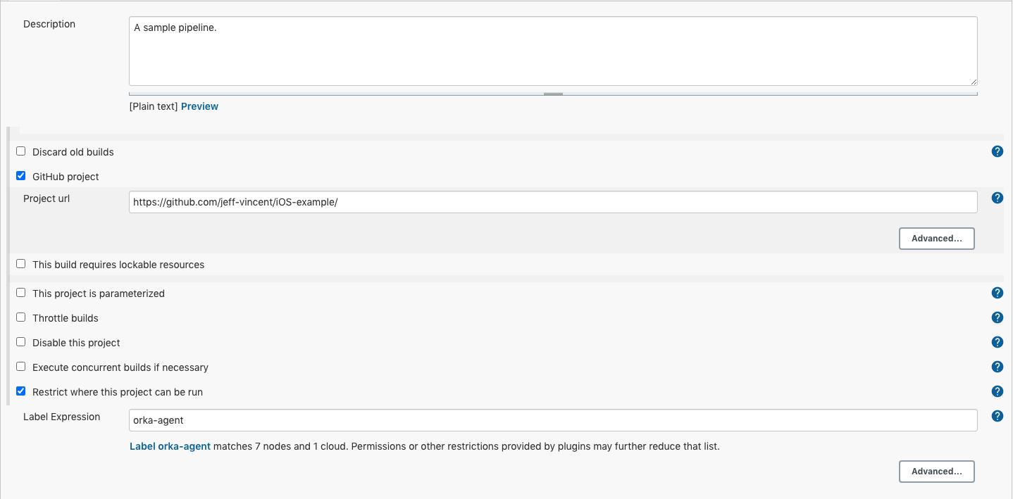 Screenshot of Jenkins create pipeline pag