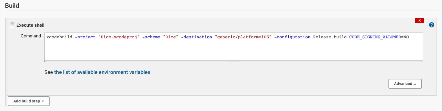 Screenshot of Jenkins execute shell prompt