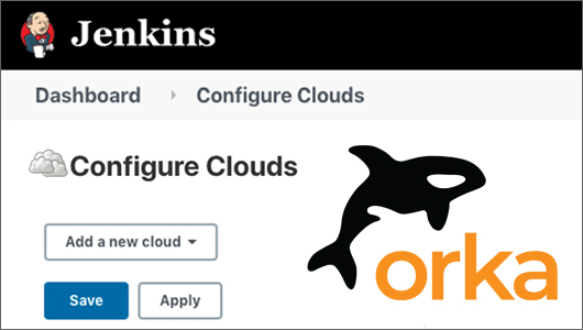 Jenkins Configure Clouds screenshot with Orka logo