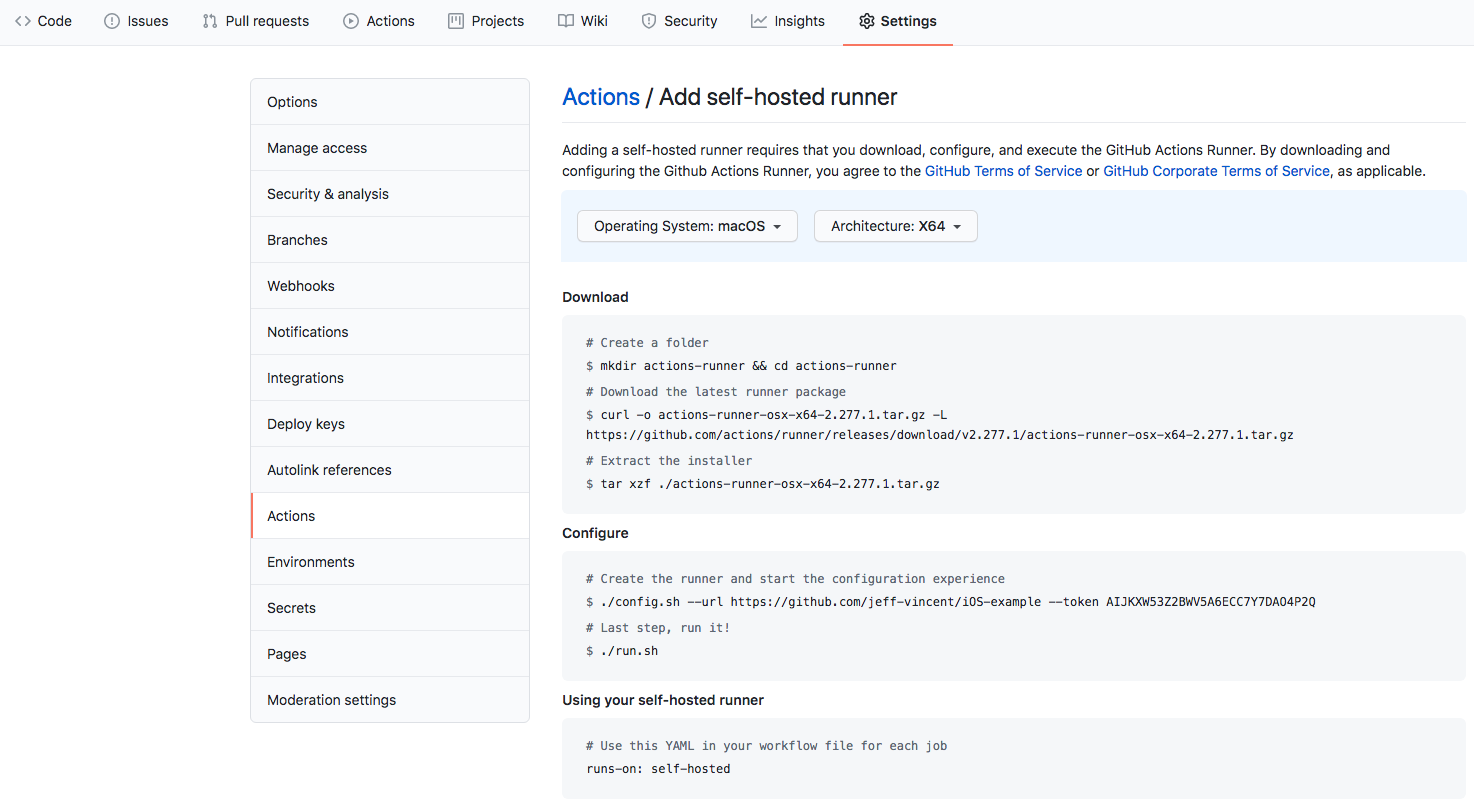 Github actions project settings tab screenshot