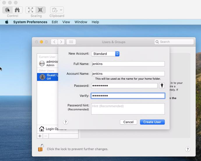 Mac create user dialog