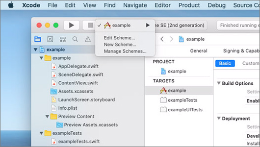 Xcode scheme screenshot