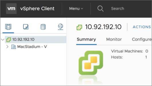 Screenshot of Vsphere instance showing ip