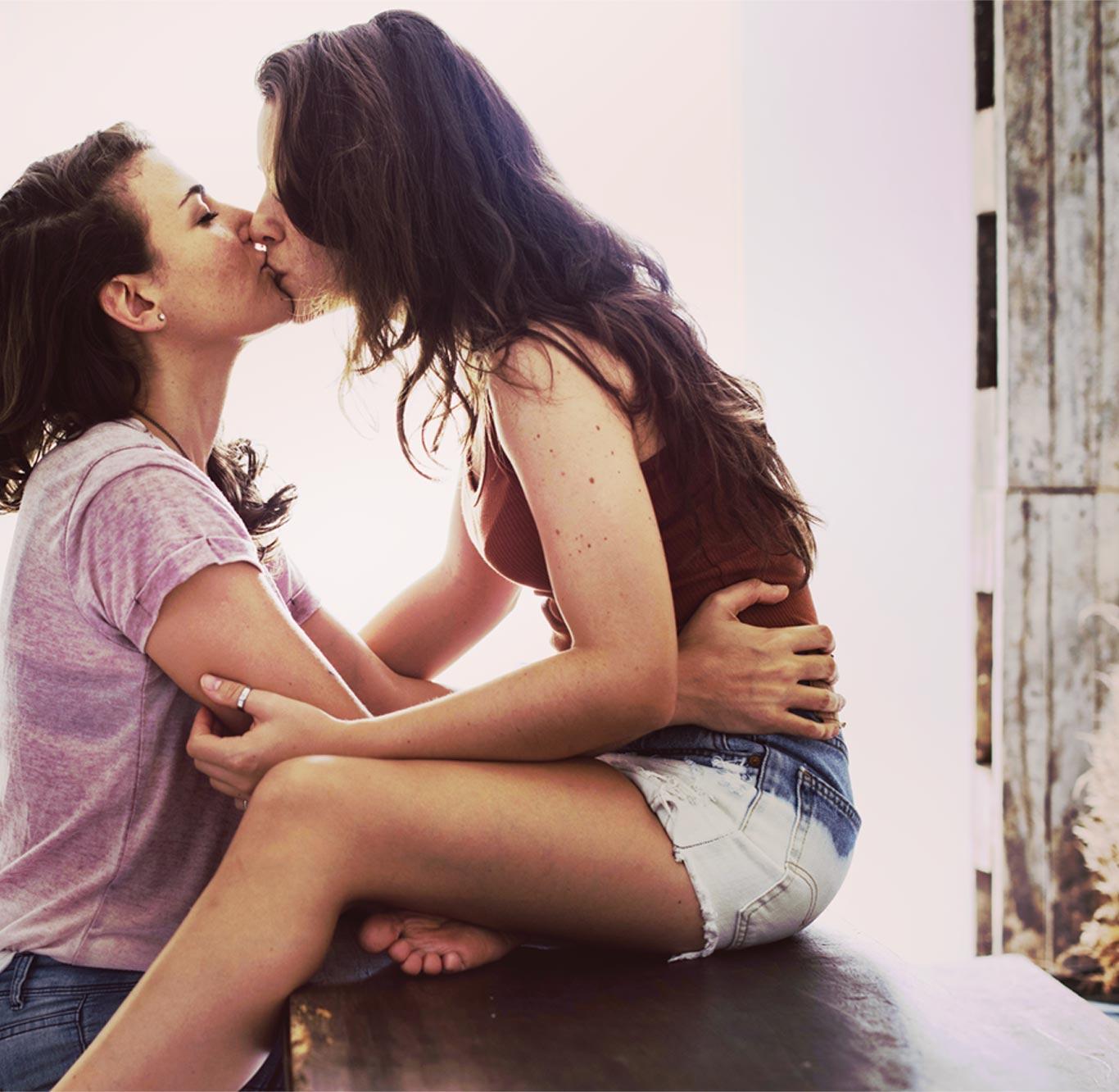Lesbian Couple Kissing