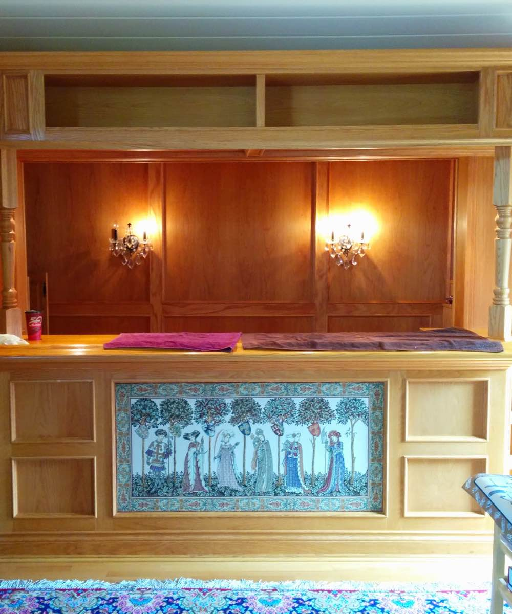 Wood bar cabinet restored in Ottawa On