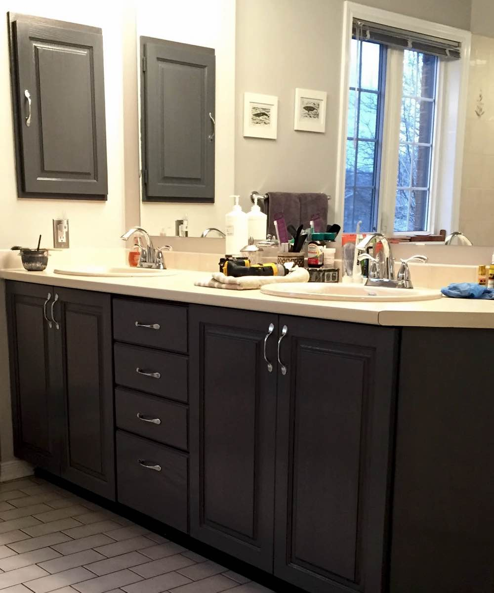 Wooden bathroom cabinets refinished in Ottawa On
