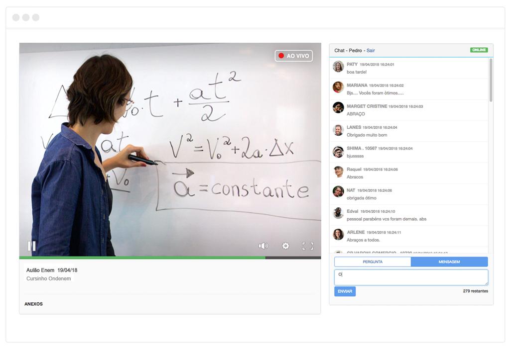 imagem de transmissão de aula com chat
