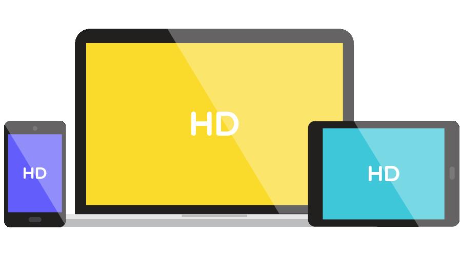 ícone de celular notebook e tablet com imagem em alta definição
