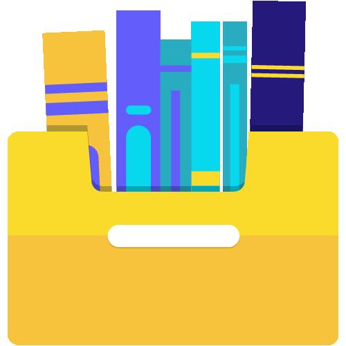 ícone de uma gaveta com livros guardados
