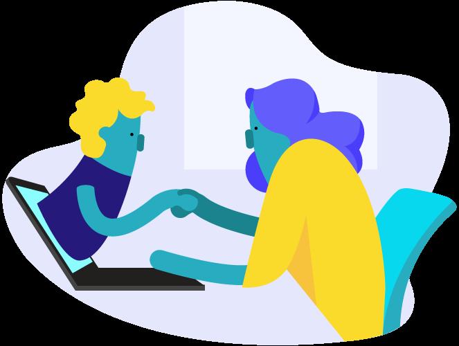 ícone de duas pessoas se cumprimentando