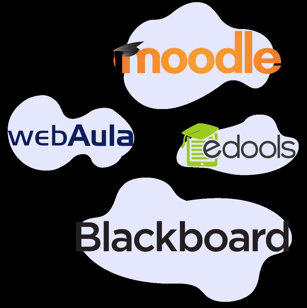 logo do moodle edools blackboard e webaula