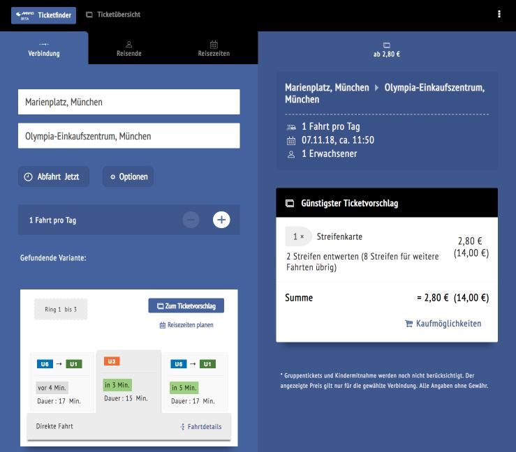Die getestete Version der responsiven Web-App »MVG Ticketfinder«